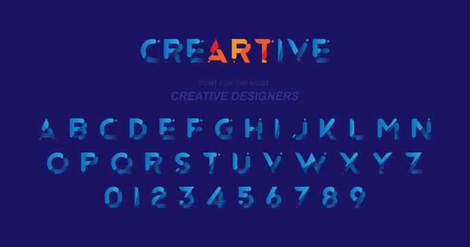 Original font in blue colour for creative design template. Flat illustration EPS10
