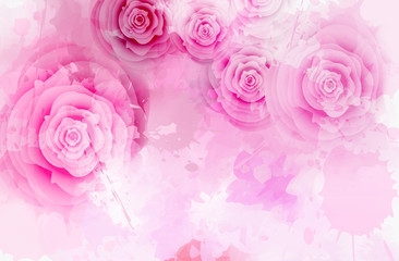 Template with watercolor abstract roses