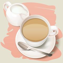 Tea time. English tea culture. Tea cup with spoon and milk jug vector illustration.