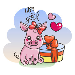 Cute cartoon baby pig in a cool rainbow glasses