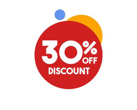 30 Discount Symbol Red Circle Design