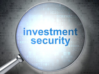 Protection concept: magnifying optical glass with words Investment Security on digital background, 3D rendering