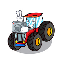 Photographer tractor mascot cartoon style