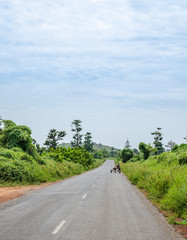 Long asphalt country road leading through rural Senegal with donkey cart and lush vegetation, Africa