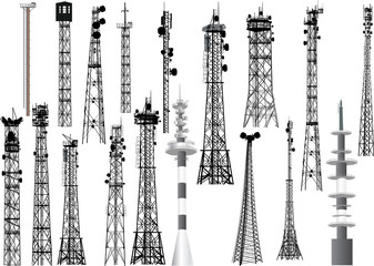 group with eighteen antenna towers on white Wall mural