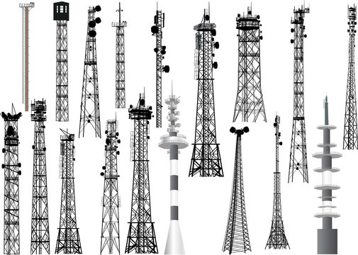 group with eighteen antenna towers on white