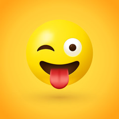 Winking face with tongue emoji - Crazy face emoticon - A face showing a stuck-out tongue and winking at the same time