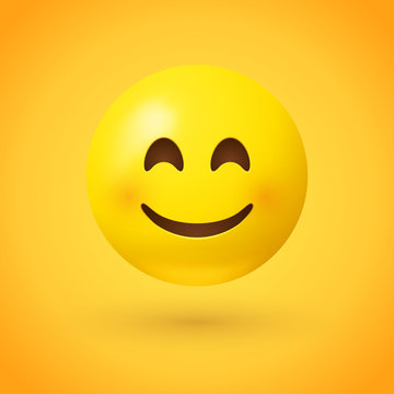 A smiling face emoji with smiling eyes and rosy cheeks on yellow background - emoticon showing a true sense of happiness