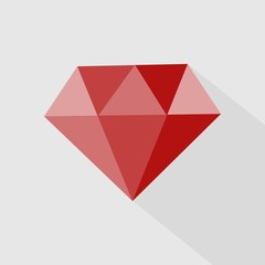 Ruby vector icon. Icon gemstone red ruby.