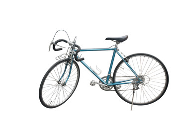 side view Di cut blue Old bicycle on white background,copy space