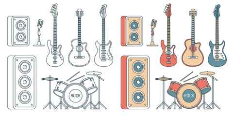 Musical instruments - electric and acoustic guitars, bass, drum set and speakers. Contour illustration color and monochrome.