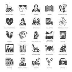 Elderly care vector flat glyph icons. Nursing home elements old people activity, wheelchair, health check, hospital call button, grandfather, grandmather, doctor. Solid silhouette pixel perfect 64x64.