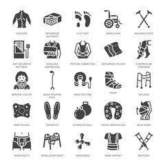 Orthopedics, trauma rehabilitation glyph icons. Crutches, mattress pillow, cervical collar, walkers, medical rehab goods. Health care signs for clinic, hospital. Solid silhouette pixel perfect 64x64.