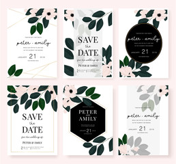 Wedding card invitation set with pink flower and leaf in dark green vector template.
