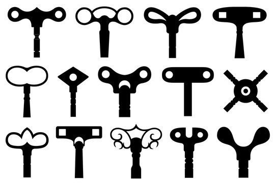 Set of different wind up keys isolated on white