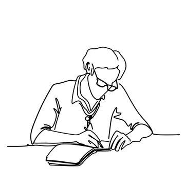 black line silhouette writer