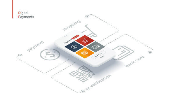 Payment system mobile interface. Infographics with a mobile phone and payment system icons. Modern full-color illustration isometric style.