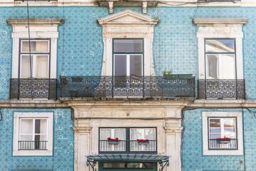 Facade of house, Lisbon, Portugal