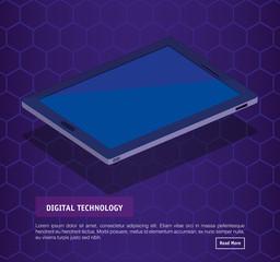 isometric tablet digital technology vector illustration design