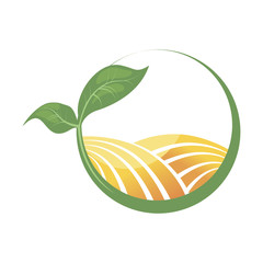 Logotype of agriculture. Logo with a field of wheat. Stylized eco logo. Green energy fields. Vector illustration.