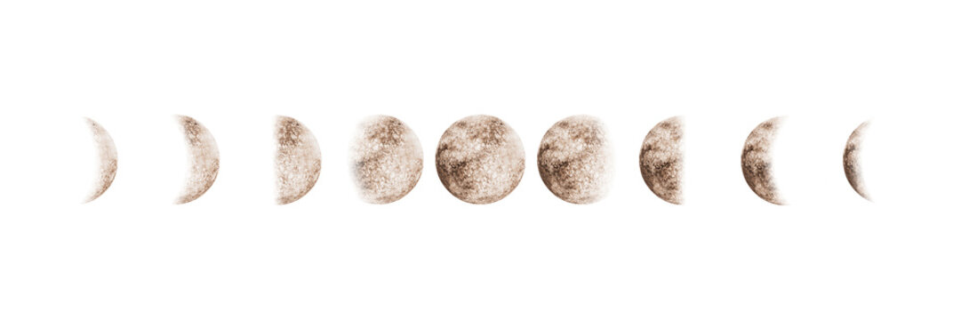 Moon phases set watercolor isolated