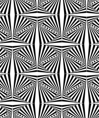 Seamless geometric pattern with a five-poined stars and optical illusion in a black - white colors