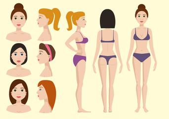 Plastic surgery body parts woman correction anaplasty medicine skin treatment beauty health procedure vector illustration