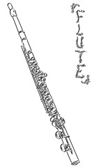 Vector abstract illustration drawing of flute.