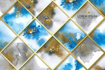 Background with blue and gold marble watercolor texture. Vector illustration.