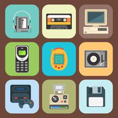 Vintage technologies vector retro audio multimedia entertainment old electronic gadget communication illustration.