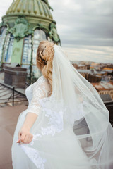 Silhouette of beautiful bride weared in dress and veil. Wedding dress and happiness. Love and new family concept. Honeymoon. Park or interior. Saint-Petersburg wedding tourism. Russian bride