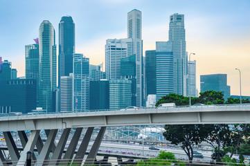 Traffic on bridge of Singapore downtown