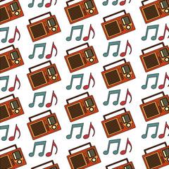 retro vintage radio stereo note music pattern vector illustration