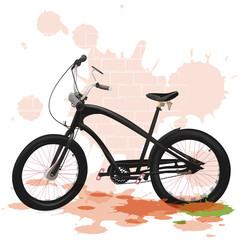 Vector bicycle. Bicycle drawing. Journey.Helmet. Blots. Wall. Brick wall