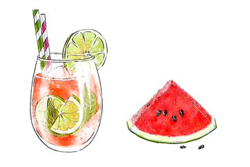 Colorful hand-drawn illustration of delicious smoothie of fresh fruit and slice of watermelon. Fresh summer cocktail with lime and orange juice. Glass with ice cubes and a straw. Healthy beverage.