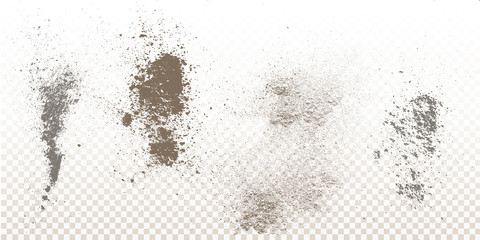 Scattered powder falls, stains, splashes, powder explosion. On an isolated background. Grunge blots trail and spray. Wall mural