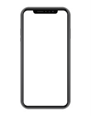 Modern black smart phone on white background