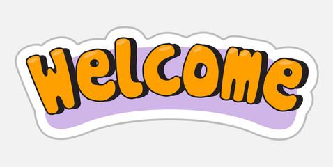 Welcome sticker in retro style