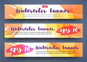 Set of bright watercolor summer banners for your design. Fruit drink, fashion, beauty.
