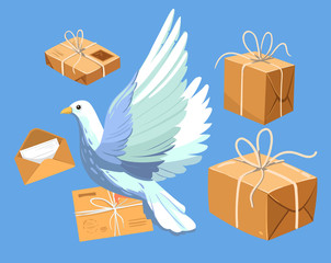 Dove with letter and parcels