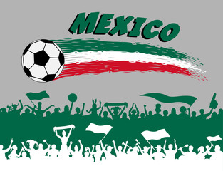 Mexico flag colors with soccer ball and Mexican supporters silhouettes