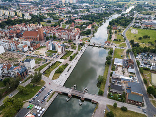 Aerial: The canal of Elblag, Poland