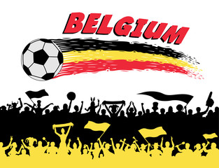 Belgium flag colors with soccer ball and Belgian supporters silhouettes
