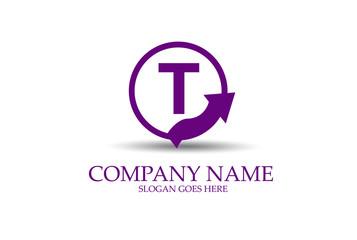T Circle Arrow Letter Identity Logo Design Vector.