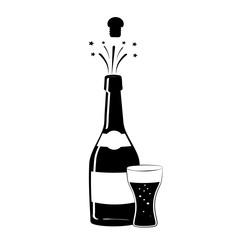Champagne icon. Black silhouette of a champagne bottle and a glass. Iconography. Vector