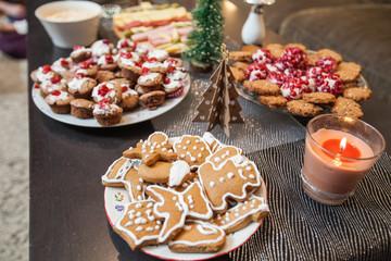 Christmas dessert serving on table