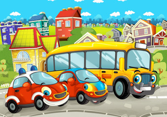 cartoon scene with happy cars on the street driving through the city - illustration for children