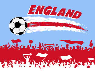 England flag colors with soccer ball and English supporters silhouettes