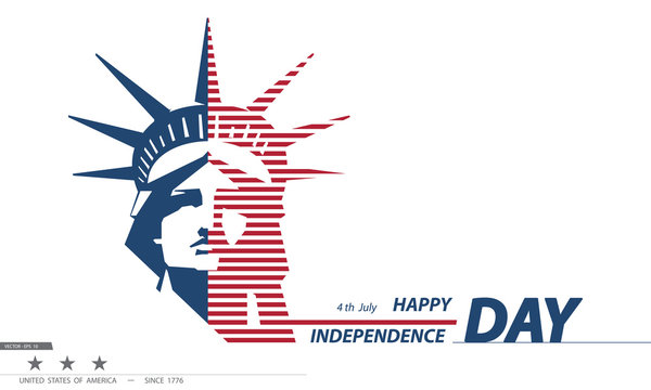 United States Independence Day Pattern of New York Sculpture. Statue of Liberty. National Symbol of America. Illustration, white background.presentation, corporate report, postcard,logo,banner,vector