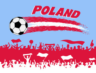 Poland flag colors with soccer ball and Polish supporters silhouettes
